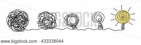 Process Of Complex Problem To Simple Solution Idea Concept. Chaos Scribble Line Turn Into Light Bulb