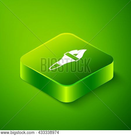 Isometric Torch Flame Icon Isolated On Green Background. Symbol Fire Hot, Flame Power, Flaming And H