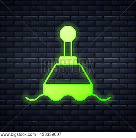 Glowing Neon Floating Buoy On The Sea Icon Isolated On Brick Wall Background. Vector