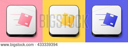 Isometric Location With Cardboard Box Icon Isolated On Pink, Yellow And Blue Background. Delivery Se