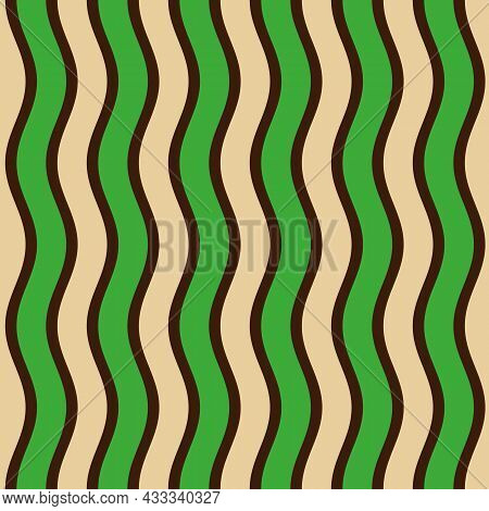 Seamless African Fashion Striped Vector Pattern. Wavy Lines, Stripes. Bright, Vibrant Colors. Green,