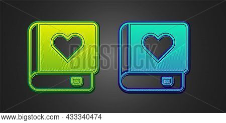Green And Blue Romance Book Icon Isolated On Black Background. Vector