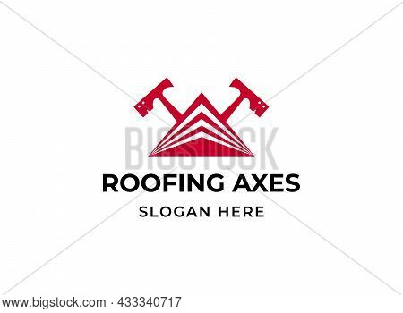 Roofing Hatchets Logo. House Roof Levels Triangle With Two Crossed Carpenter Axes Logotype. Construc