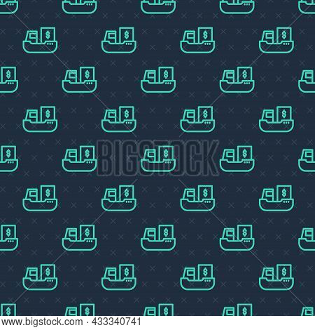 Green Line Cargo Ship With Boxes Delivery Service Icon Isolated Seamless Pattern On Blue Background.