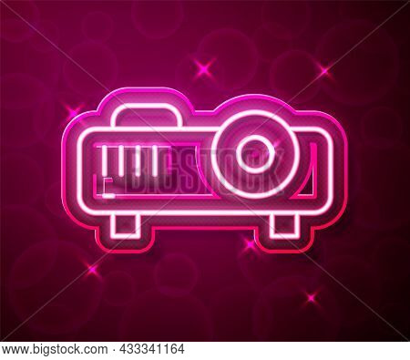 Glowing Neon Line Presentation, Movie, Film, Media Projector Icon Isolated On Red Background. Vector