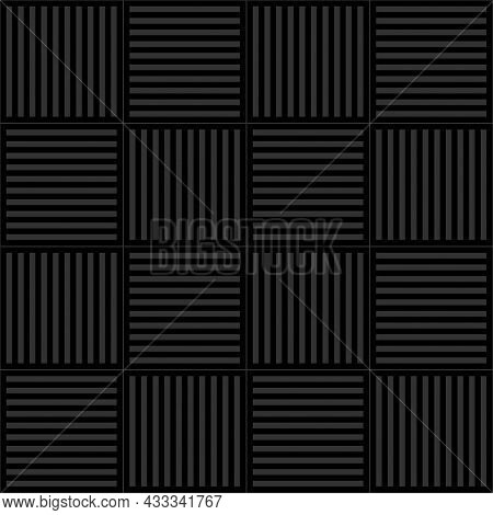 Seamless Square Pattern. Gray Vertical And Horizontal Lines Black Background. Texture Design For Tex