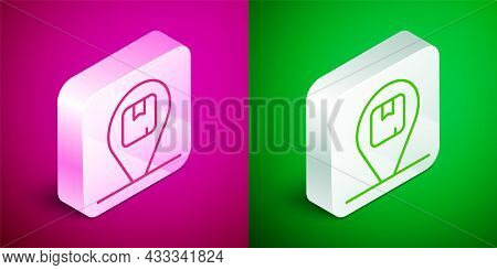 Isometric Line Location With Cardboard Box Icon Isolated On Pink And Green Background. Delivery Serv