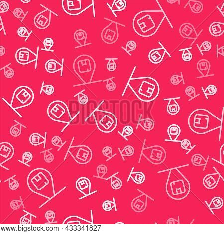 White Line Location With Cardboard Box Icon Isolated Seamless Pattern On Red Background. Delivery Se