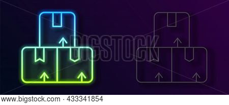 Glowing Neon Line Carton Cardboard Box Icon Isolated On Black Background. Box, Package, Parcel Sign.
