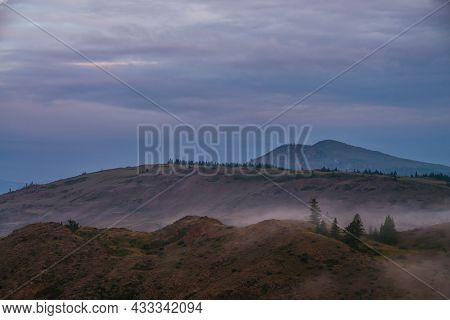 Scenic Dawn Mountain Landscape With Fog On Hill With Trees And Mountain Top Under Blue Sunset Or Sun