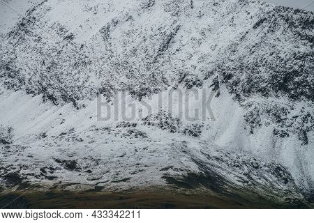 Snow Mountain Minimalism Of Snowbound Mountain Wall In Highlands. Minimalist Nature Background Of Sn