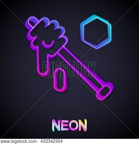 Glowing Neon Line Honey Dipper Stick Icon Isolated On Black Background. Honey Ladle. Vector