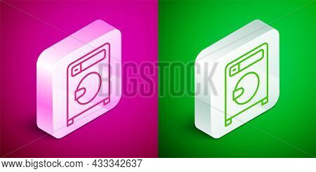 Isometric Line Washer Icon Isolated On Pink And Green Background. Washing Machine Icon. Clothes Wash