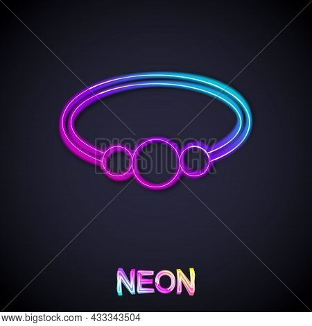 Glowing Neon Line Bracelet Jewelry Icon Isolated On Black Background. Bangle Sign. Vector
