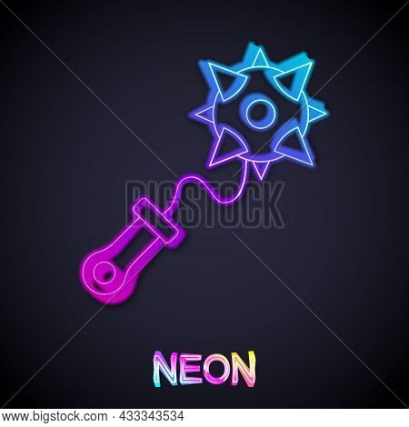 Glowing Neon Line Medieval Chained Mace Ball Icon Isolated On Black Background. Morgenstern Medieval
