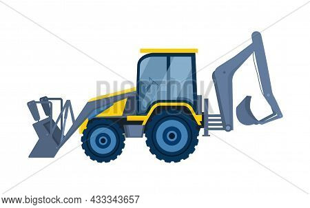Machines For Construction Concept. Bulldozer With Buckets On Both Sides. Equipment For Agriculture.