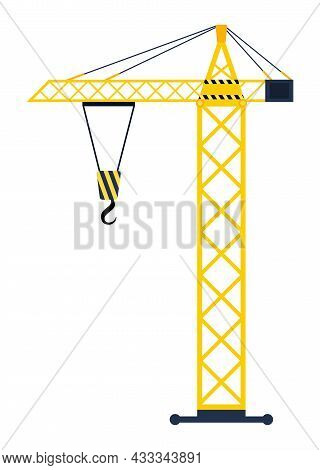 Static Lifting Crane Concept. Construction Mechanism For Lifting Materials And Cargo. Design Element