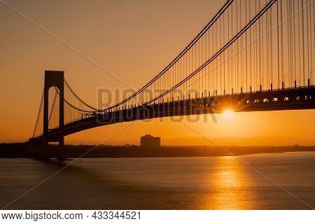 Staten Island, Ny - Usa - Sept. 18th 2021: A Landscape View Of The Verrazzano-narrows Bridge,seen Fr