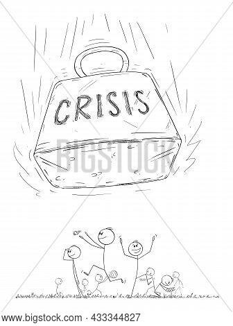 Happy People Enjoying Fun And Ignoring Incoming Crisis, Vector Cartoon Stick Figure Illustration