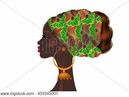 Afro Hairstyle, Beautiful Portrait African Woman In Wax Print Fabric Turban, Diversity Concept. Blac
