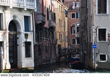 City View Of Venice. View Of The Canal, Boat And Bridge To The Other Side Of The Canal. October 12,