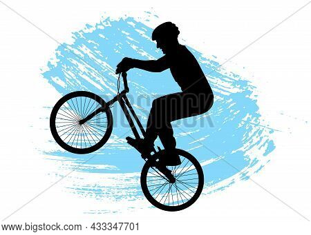 Cyclist Performs Stunt  Front Pull On Bicycle. Silhouette Of Man And Bike. Brush Stroke. Vector Illu
