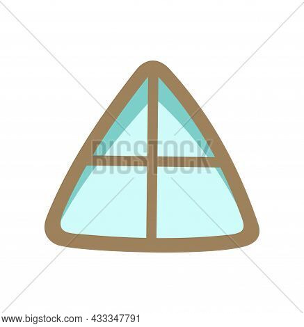 Window Is Triangular For Roof And Attic. Simple And Flat Style. Blue Glass. Day. Cartoon Cute Fairy