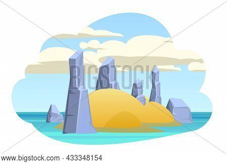 Island In The Ocean. Cartoon Style. Blue Calm Sea. Flat Design Illustration. Rocks And Cliffs. Isola