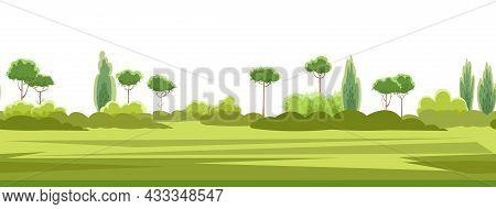 Rural Summer Beautiful Landscape. Plain With Treesand Shrubs On Horizon. Seamless. Cartoon Style. Ro