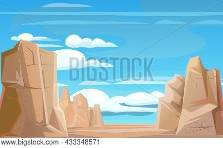 Rocky Cliffs. Peaks Of Rocky Mountains. Stone Landscape. Wind. Sky With Clouds. Illustration Vector