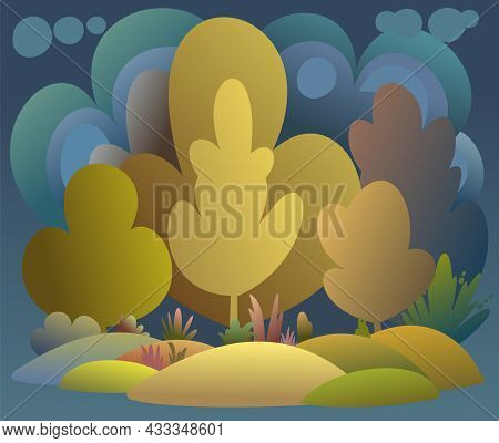 Flat Autumn Forest. Night Landscape With Trees. Illustration In A Simple Symbolic Style. Bright Plac