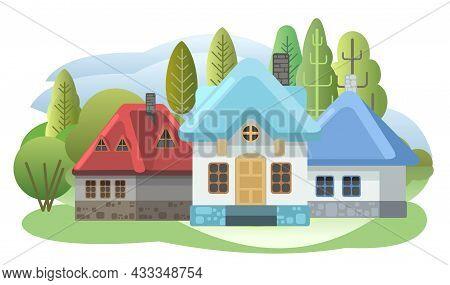 Cozy Houses. Funny Cartoon Style. Country Suburban Village. Farm Hut In The Garden. Fairy Tale Illus