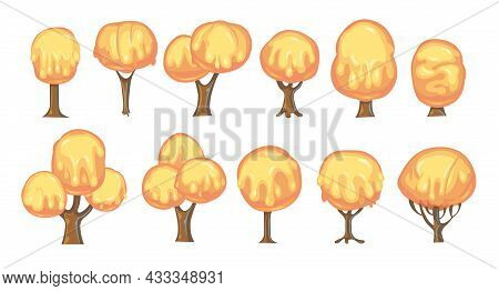 Set Of Fabulous Sweet Trees. For Landscapes With Orange Caramel, Ice Cream Or Jelly. Perspiration. C