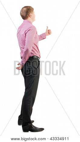 Back view of  business man shows thumbs up.   Rear view people collection. cheerful office worker shows positive emotions.  backside view of person.  Isolated over white background.