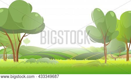 Rural Harvest Landscape. Farm Garden And Fruit Trees. Greenery Grassland. Funny Cartoon Design Illus