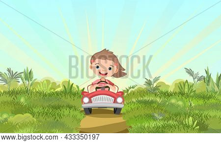 Childrens Adventure In Small Car On Suburban. Kid Drives Pedal Or Electric Toy Automobile. Cartoon I