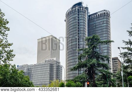 Madrid, Spain - September 13, 2021: Europa Tower And Picasso Tower, Skyscrapers In The Azca Financia
