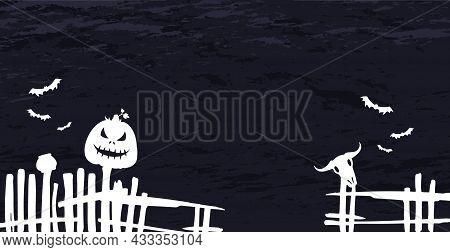 Scary Gloomy Dark Blue Halloween Background - Illustration