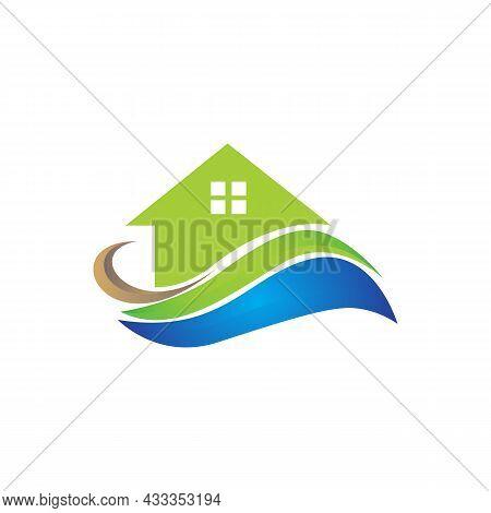Real Estate Residence Logo Icon Flat Concept Vector Graphic Design