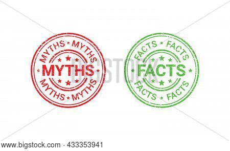 Fact Myth Grunge Rubber Stamps, Badges. Truth Or False Round Seal Imprints. Vector Illustration. Emb