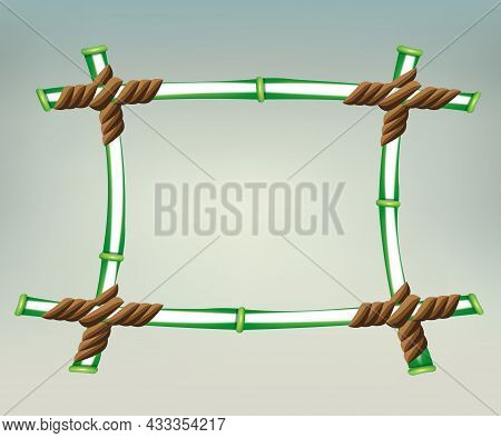 Outline Of A Square Frame Made Of Green Bamboo, Design Element