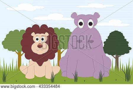 A Lion And A Hippopotamus Make Friends As Friends In The African Savanna