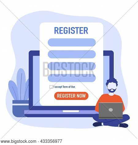 Man Submitting Online Registration Form On Laptop Computer In Flat Design.