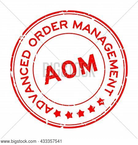 Grunge Red Aom Advanced Order Management, Add On Module Word Round Rubber Seal Stamp On White Backgr