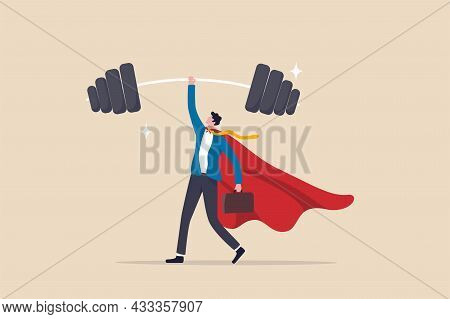 Business Strengths, Strong Power To Get Job Done And Success, Career Challenge Or Winning Skill With
