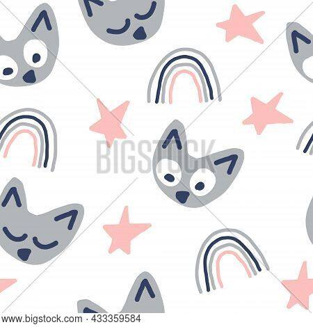 Cats Seamless Pattern Hand Drawn Doodle. Vector, Kids Print, Minimalism. Textiles, Wrapping Paper, W