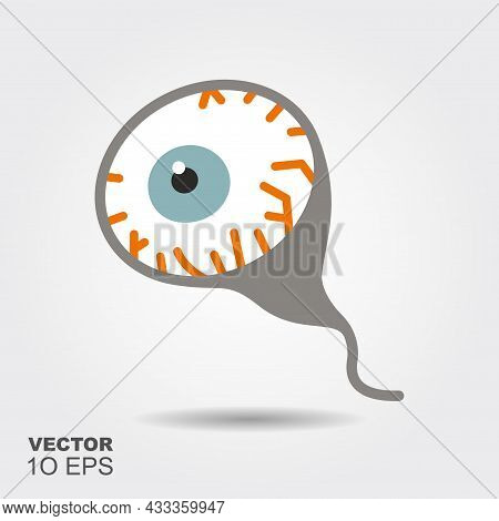 Eyeball. Flat Silhouette Icon With Shadow. Vector Illustration