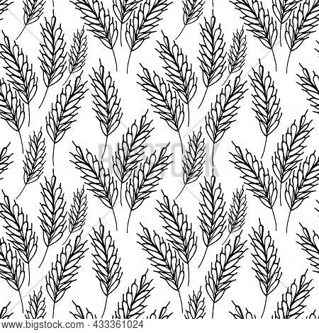 Spikelets Seamless Pattern Hand Drawn Doodle. Vector, Minimalism, Monochrome. Textiles, Wrapping Pap