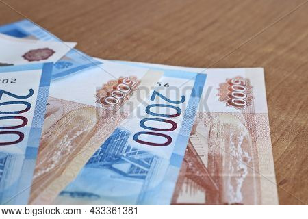 Russian Rubles Money Background. Bills Of 2000 And 5000 Rubles. Business And Finance Concept.