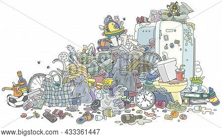 Big Messy Dump Of Household Garbage And Waste, Vector Cartoon Illustration Isolated On A White Backg